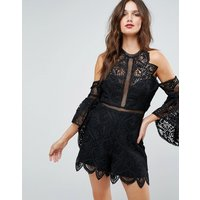 Forever New Lace Detail Playsuit - Black