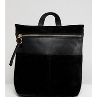 Accessorize Mini Ziptop Leather Backpack - Black
