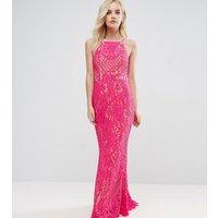 Jarlo Petite Allover Lace High Neck Maxi Dress - Fuchsia