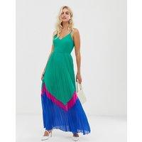 ASOS DESIGN colour block pleated maxi dress