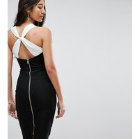 Vesper Tall Pencil Dress With Contrast Strap Detail - Black/white