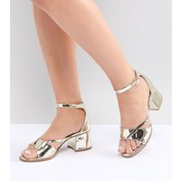 Lost Ink Wide Fit Rose Gold Block Heeled Sandals - Gold