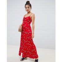 Brave Soul Poppy Maxi Dress With Front Split - Red