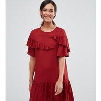 ASOS PetiteASOS PETITE Short Sleeve Drop Waist Dress With Ruffles - Oxblood