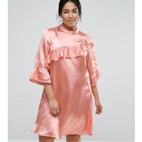 ASOS CurveASOS CURVE Premium Shift Dress In Satin With Ruffle Trim - Pink