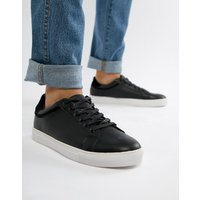 Truffle Collection Lace Up Trainer in Black - Black