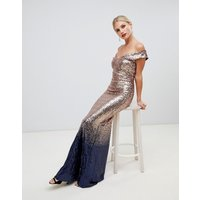 City Goddess ombre sequin embellished maxi dress - Gold as pic