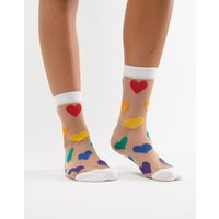 Calcetines tobilleros transparentes con corazón arcoíris de ASOS DESIGN