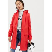 Pieces Longline Rain Jacket - Red