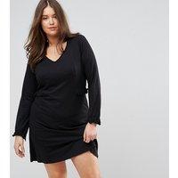 JunaroseJunarose Long Sleeve Jersey Dress With Frill Waist And Cuff - Black
