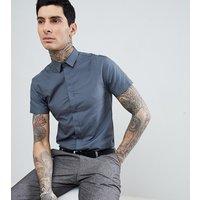 Heart & Dagger skinny short sleeve smart shirt - Grey