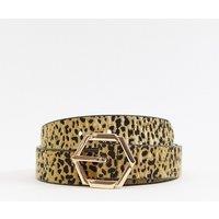 Accessorize Hexagon Jeans Belt In Leopard