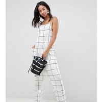 ASOS DESIGN Tall jumpsuit minimal with ties in white check - Mono check