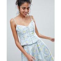 Oasis Floral Print Jacquard Button Down Cami Top - Multi Blue