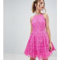 ASOS DESIGN Petite Pinny Prom Mini Dress in Lace - Pink