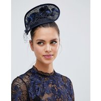 Vixen Foldover Disc with Sinamay Flowers in Navy - Navy