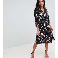 Uttam Boutique Petite Flower Print Wrap Dress - Black