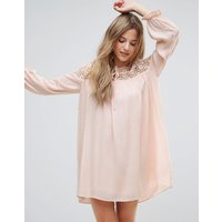 The English FactoryThe English Factory Long Sleeve Tunic Dress With Embroidery And Tie Detail - Nude pink