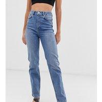 ASOS DESIGN Tall Farleigh high waisted straight leg jeans in stone wash blue - Stone blue