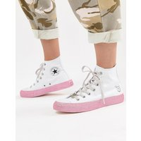 Converse X Miley Cyrus Chuck Taylor All Star Hi Trainers In White And Silver Glitter - White