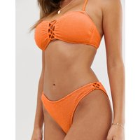 Accessorize Textured Tie Side Bikini Bottom In Orange