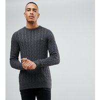 Farah Lewes twisted marl cable jumper in charcoal Exclusive at ASOS - Grey