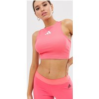 Adidas Training Cutout Back Crop Top In Pink