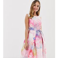 Chi Chi London Petite satin midi prom dress in bright floral