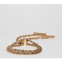 Asos Design Curve Bracelet With Rope Chain And Toggle Design In Gold - Gold
