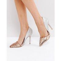 Miss KG Andrea Sequin Court Shoes - Metal comb