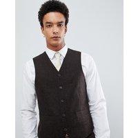 Gianni Feraud Slim Fit Brown Donnegal Wool Blend Waistcoat - Brown