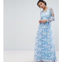 True Decadence Petite Premium 3D Lace Applique Maxi Dress - Soft blue