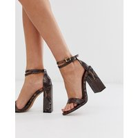 ASOS DESIGN Highlight barely there heeled sandals in brown snake - Brown snake