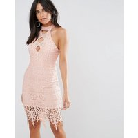 Ax Paris Blush Crochet Midi Dress - Blush