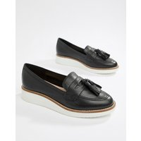 Aldo Leather Chunky Sole Tassel Loafers - Black Leather