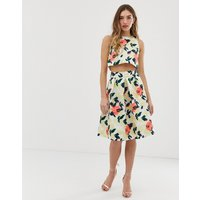 Chi Chi London midi prom skirt in bright jacquard