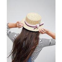 Sombrero canotié de paja natural con lazo a rayas y ajustador de tamaño de ASOS