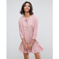 ASOSASOS Drop Waist Lace Up Casual Dress - Pink