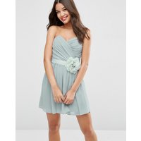 ASOSASOS WEDDING Chiffon Bandeau Mini Dress with Detachable Corsage - Silver