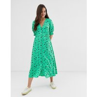 ASOS DESIGN button through midi tea dress with shirred waist in floral print - Light based floral