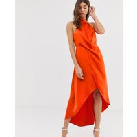 ASOS DESIGN satin midi dress with high neck and wrap skirt - Blood orange
