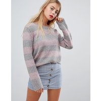 Emory Park relaxed jumper in pastel stripe - Pink grey