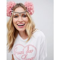 ASOS DESIGN headband with statement festival floral pom pom and chain - Multi