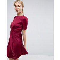 ASOSASOS Short Sleeve Satin Tea Dress With Rouleau Buttons - Burgundy