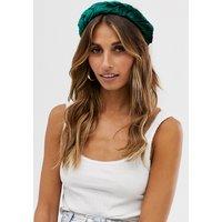 Accessorize Exclusive Emerald Green Velvet Wide Plait Headband