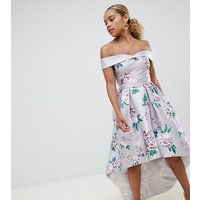 Chi Chi London Petite printed sweetheart bandeau midi dress - Multi