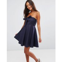 QED LondonQED London Strapless Bow Front Skater Dress - Navy
