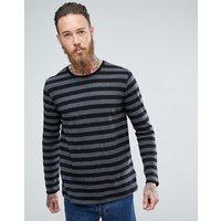Nudie Jeans Co Orvar Block Stripe Long Sleeve - Black
