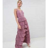 Little Mistress Petite laced tiered maxi dress - Canyon rose