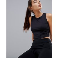 Asos 4505 Slightly Cropped Vest Top - Black